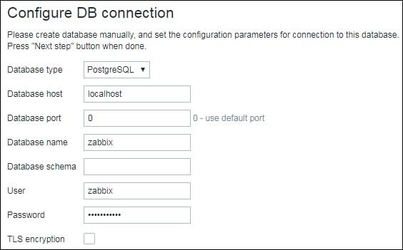 Zabbix 5 postgresql database configuration