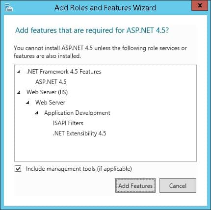 IIS ASPX Add features