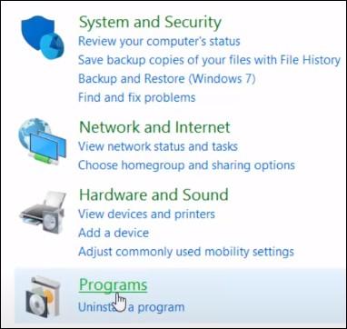 Windows 10 - Control panel