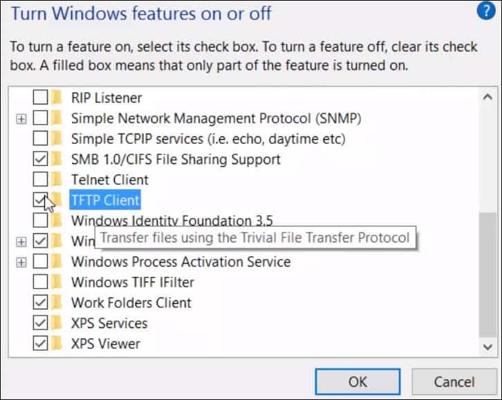 Windows 10 install tftp client