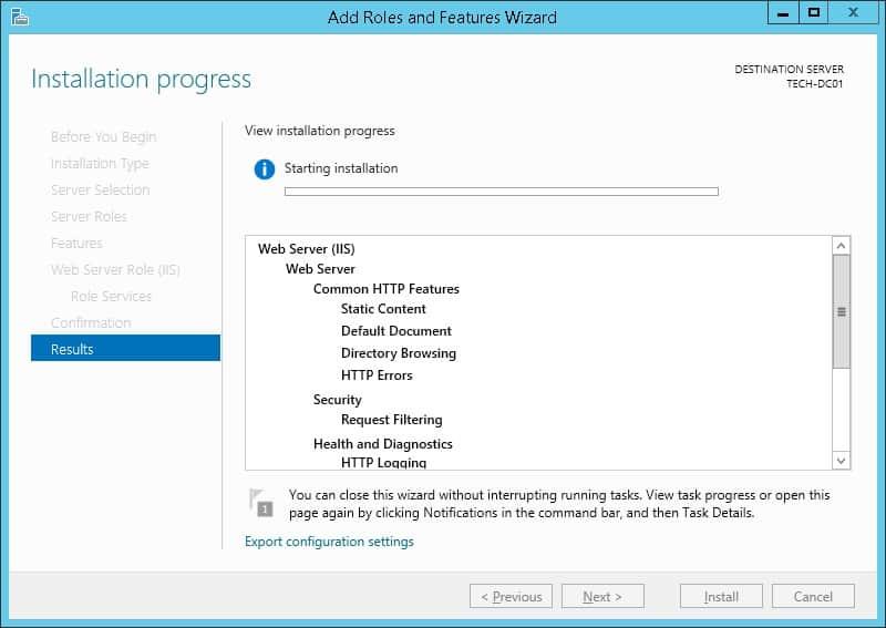 FTP server Installation Summary
