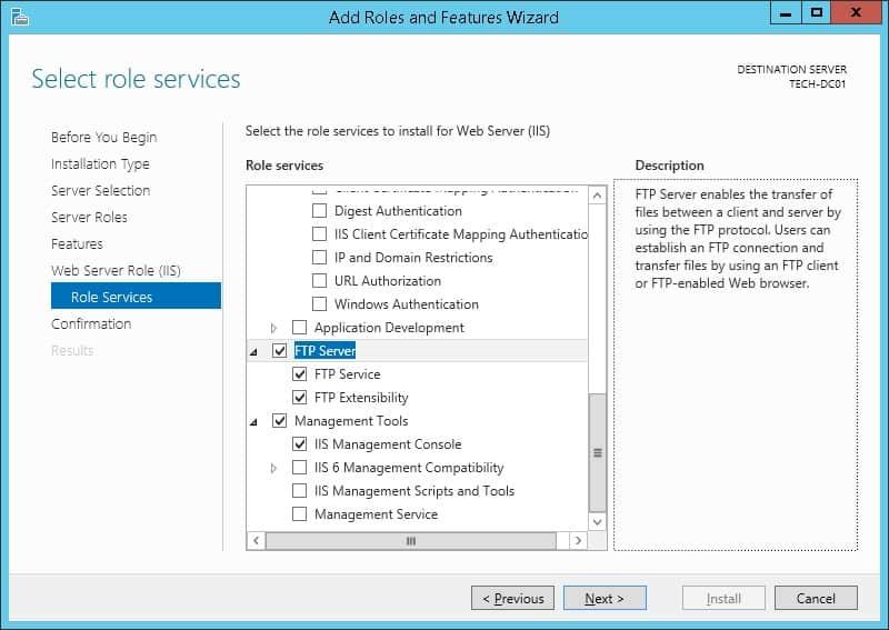 FTP server Installation Windows