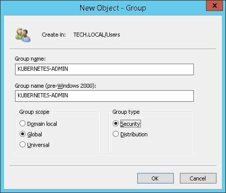 Kubernetes LDAP authentication group