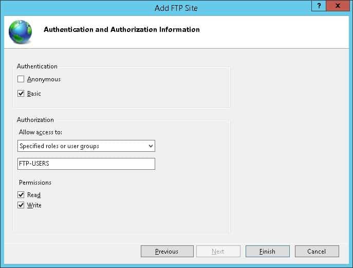 Windows - FTP Server authentication