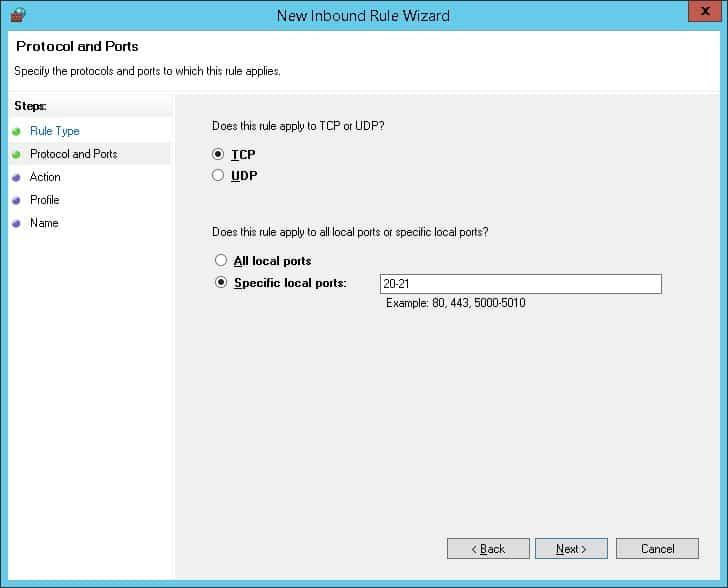 Windows - FTP server firewall configuration