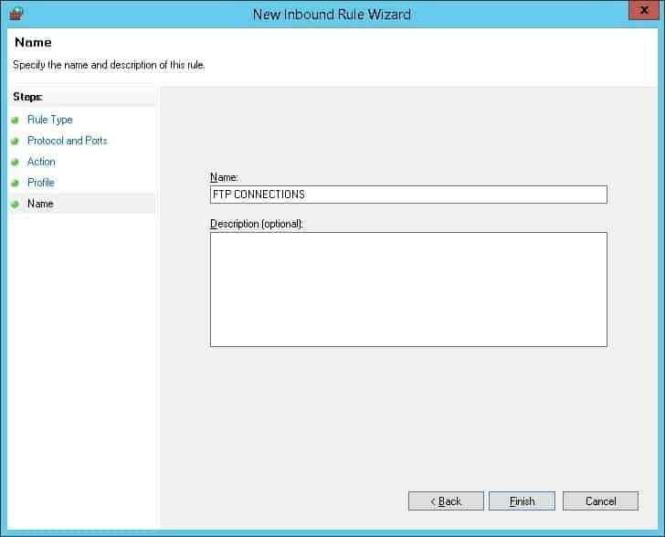 Windows - FTP server firewall description