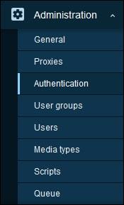 zabbix 5 authentication menu