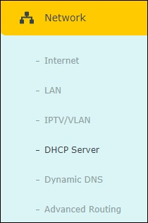 AC1200 - DHCP menu