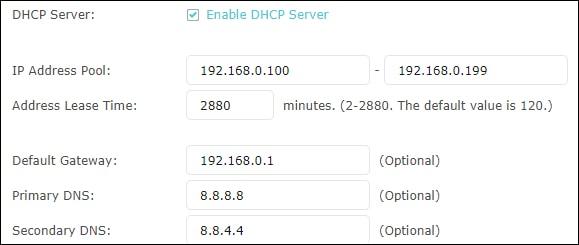 AC1200 - DHCP server configuration