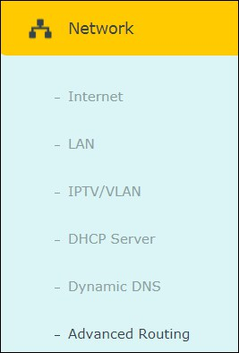 Archer ac1200 Advanced routing menu