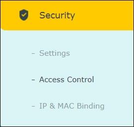 Archer ac1200 Security menu - MAC