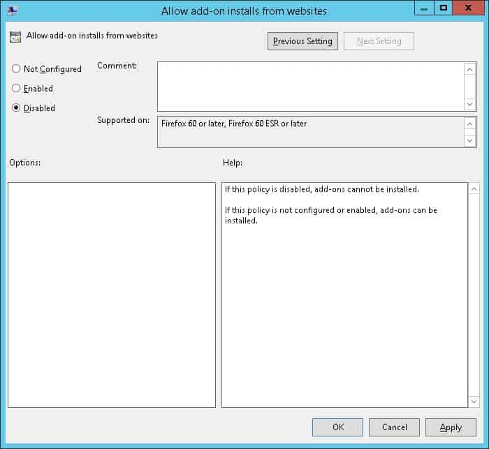 GPO - Block Addons installation Firefox