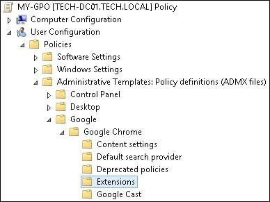GPO - Block extensions installation Chrome
