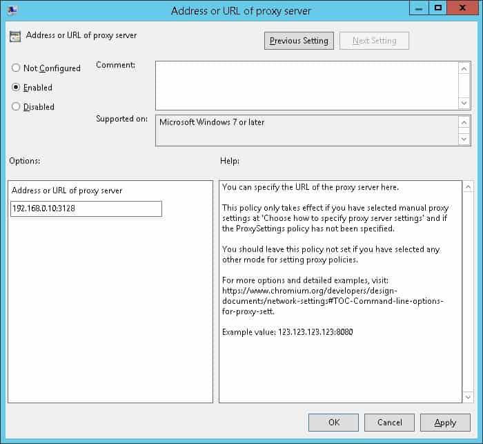 GPO - Proxy Configuration on Chrome