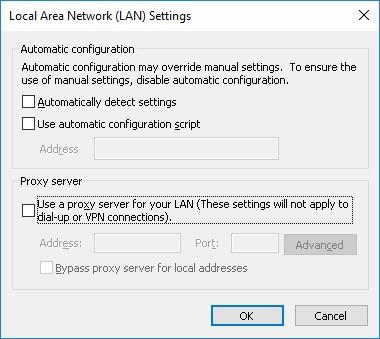 Internet explorer Proxy configuration