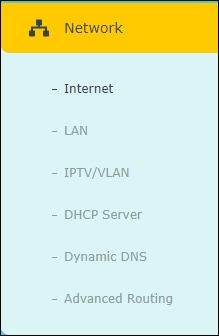 TP-Link Network menu