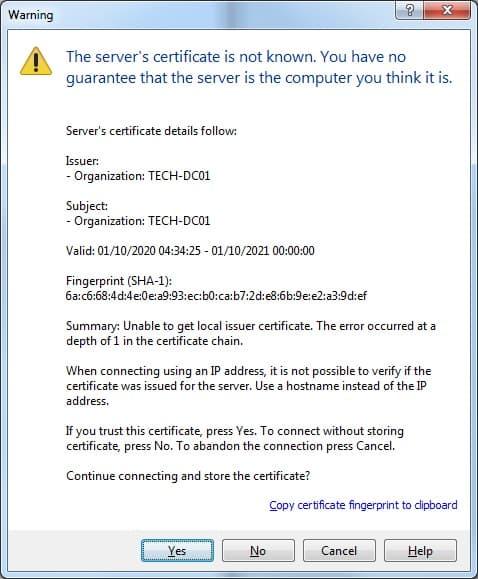 Windows SSL FTP Connection
