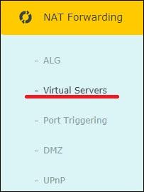 AC1200 - NAT Forwarding Port menu