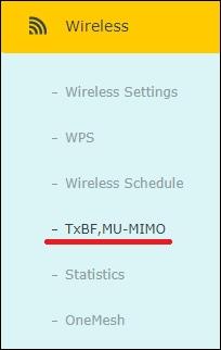 AC1200 - Wireless MU-MIMO menu