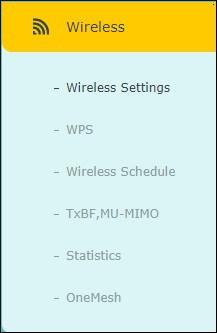 ARCHER A7 - Wireless menu