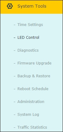 Archer C6 AC1200 - LED Control menu