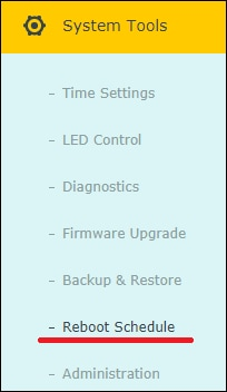 Archer C6 AC1200 - Reboot schedule menu
