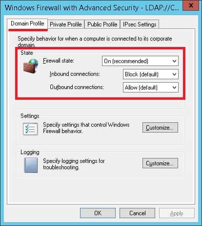 GPO Configure Firewall Windows