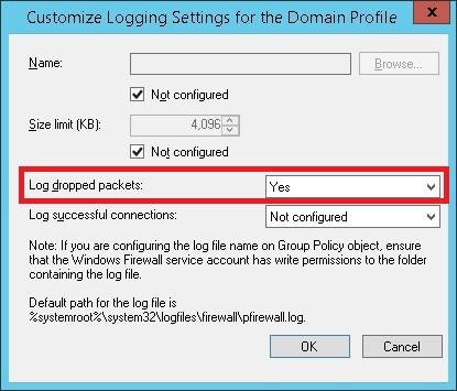 GPO Windows Firewall - Log dropped packets
