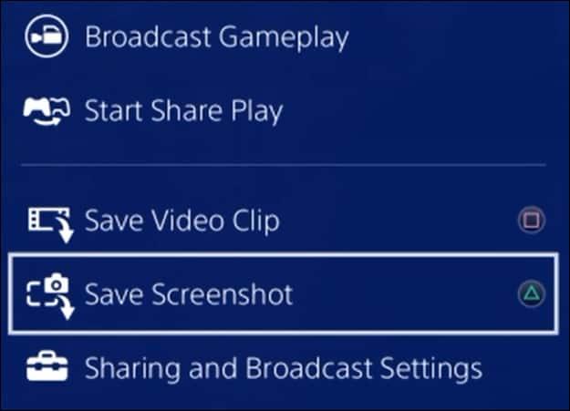 Playsation share - Taking a screenshot