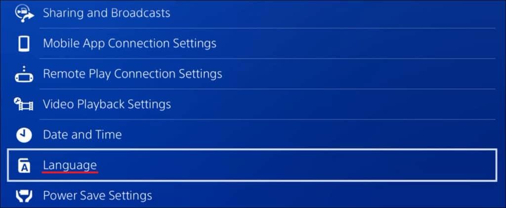 Playstation 4 - Language configuration