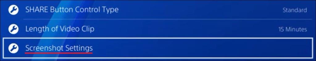 Playstation - Screenshot settings