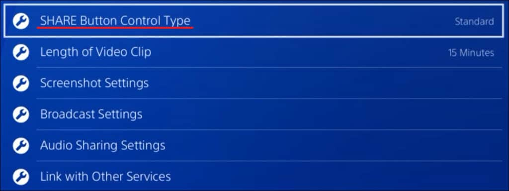 Playstation - Share button control type