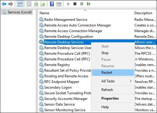 Restart the Remote Deskop Service
