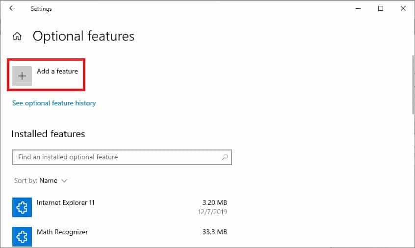 Windows 10 - Add optional feature