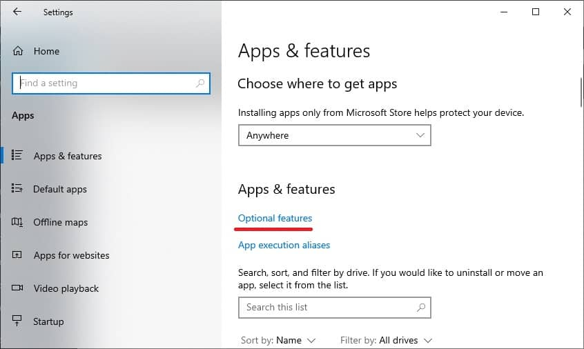 Windows 10 - Optional features