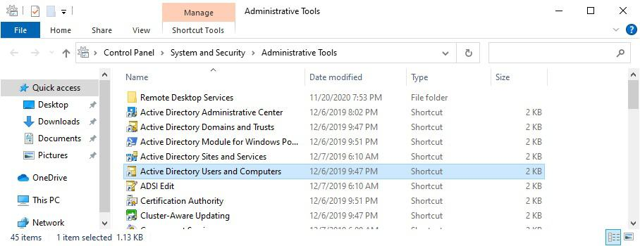 Windows 10 RSAT - Active directory users and computers