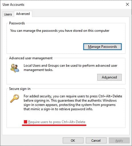 Windows 10 - Secure sign-in