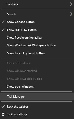 Windows - Task manager settings