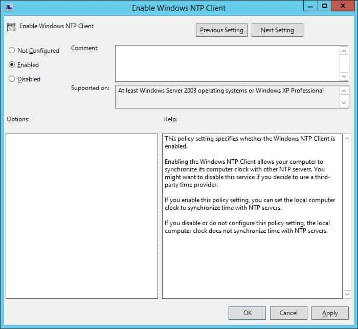 GPO - Enable Windows NTP client