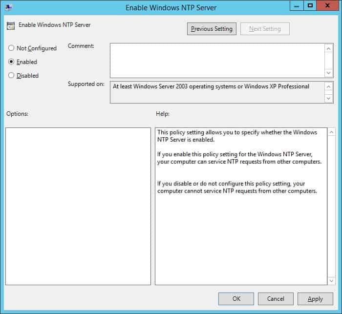 GPO - NTP server configuration