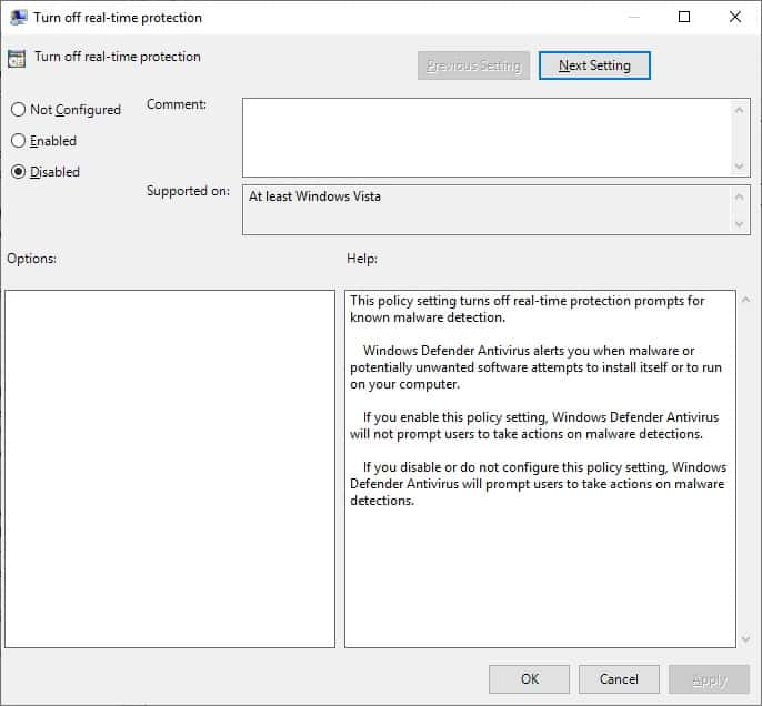 GPO Windows Defender - Turn off real-time protection