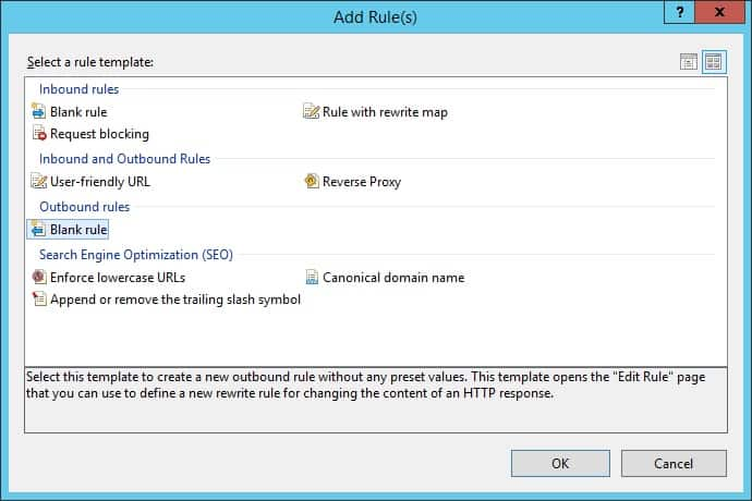 IIS - Blank outbound rule