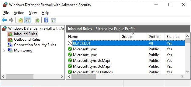 Windows - Block blacklist ip address