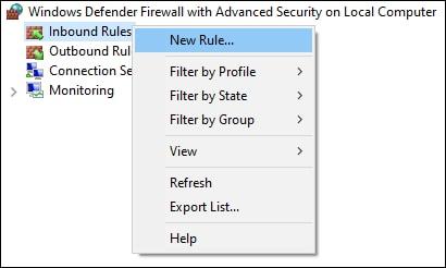 Windows firewall - New inbound rule