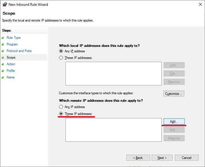 Windows firewall - Remote IP address