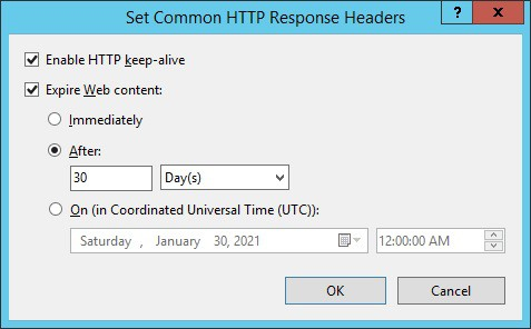 IIS - Browser cache configuration