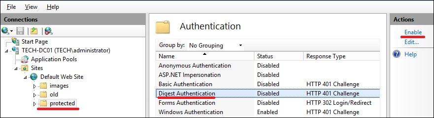 IIS - Configure Digest authentication