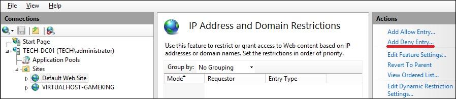 IIS - Deny IP address
