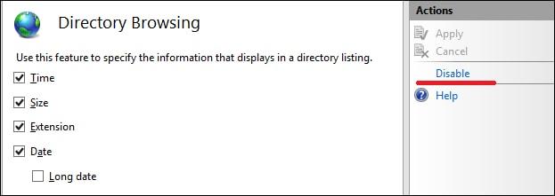 IIS - Disable Directory listing