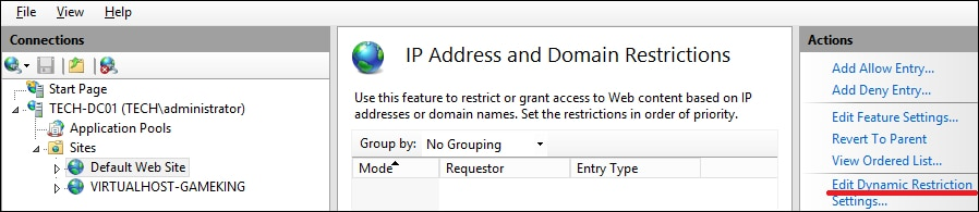 IIS - Dynamic restriction settings